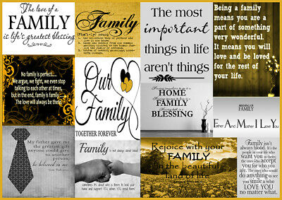 Yellow / Mustard / Grey Family Quotes Canvas Wall Art Picture - A1, A2, A0 Sizes • 53.99£
