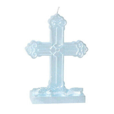 First Communion Cross Blue Candle 5  Flat Molded Cake Decoration  • 7.47£