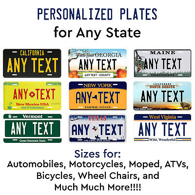 Personalized Custom License Plate Tag For Any State Auto Car Bicycle ATV Bike  • 17.99$