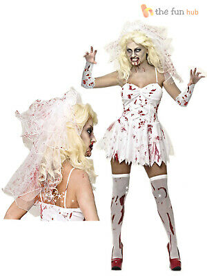 Size 8 -20 Ladies Sexy Zombie Corpse Bride Womens Halloween Fancy Dress Costume • 16.45£