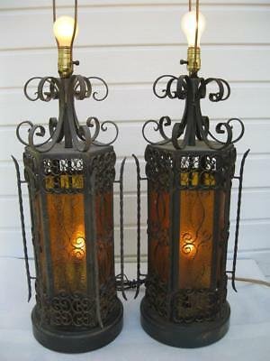 $249.99 • Buy Vintage Pair Wrought Iron Spanish Medieval Gothic Amber Lamps