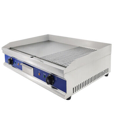 4400W Commercial Electric Griddle Flat & Groove Grill BBQ Kitchen Large Hotplate • 164.50£