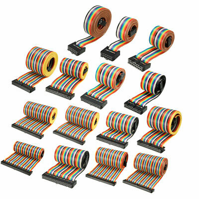 IDC 10-64Pins Flexible Rainbow Ribbon Jumper Cable 2.54mm Pitch Female Connector • 7.22£