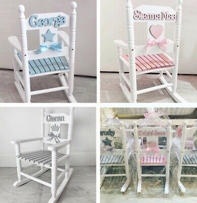 Children's Wooden Rocking Chair Personalised - Nursery Free Uk Collection • 63.50£