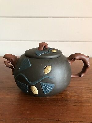 AU75 • Buy Vintage Authentic Chinese Yixing Clay Teapot With Applied Decoration Signed