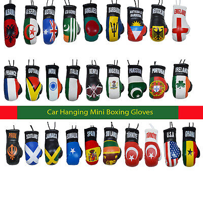 Car Office Boxing Gloves Country Flags HANGING DECORATION Leather MINI GLOVE NEW • 2.99£