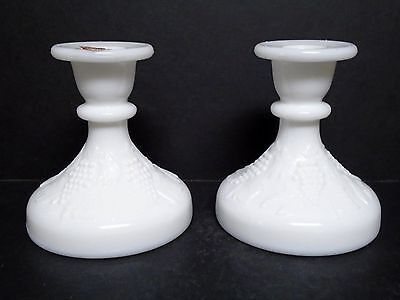 $5.15 • Buy Milk Glass Candle Holders Grape Design By Smith 4.75  Tall Ex. Vintage Condition