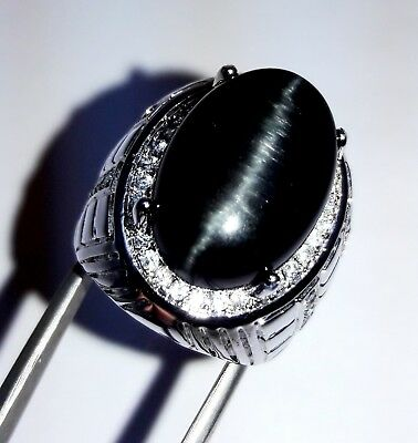 $80.99 • Buy 74 Cts Beautiful Black Color Oval Cabochon Cats Eye Gemstone Men's Ring SIZE 10