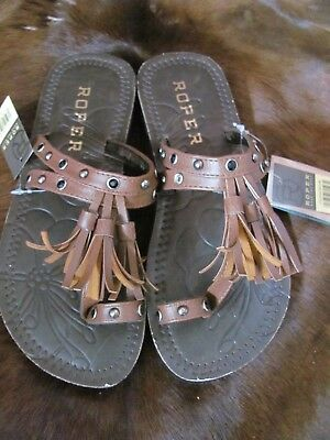 $25.20 • Buy Roper Sandals  Brand New In Box Tan Straps, Nail Heads And Crystals No Heel Supe