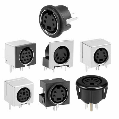 £4.74 • Buy S-video PCB Mount 4/5/6/8 Pin Din Socket Audio Video Connector Metal Case