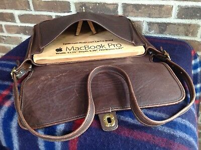$337.25 • Buy VINTAGE 1970's DISTRESSED COFFEE BROWN THICK GLOVE LEATHER BRIEFCASE BAG R$998