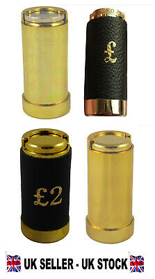 £5.49 • Buy £1 / £2 Pound / 1 Euro Coin Holder Gold Coloured Or Leather Clad