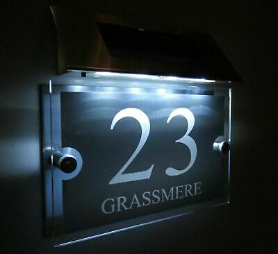 £29.99 • Buy MODERN SOLAR LIGHT LED House Signs Plaques Door Numbers 1 - 9999 Street Name