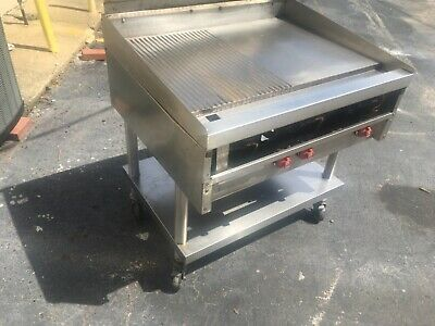 $1700 • Buy 36  Stainless Steel Gas Flat Top Griddle On Commercial Caster With Shelf Under