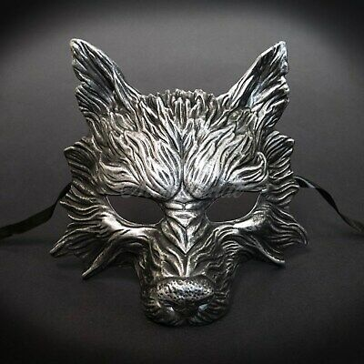 Wolf Animal Masquerade Mask, Men's Masquerade Mask, Halloween Silver Black Mask • 18.80£