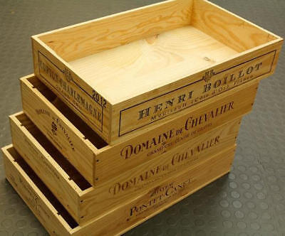 £14.95 • Buy Shallow Flat Half Size French Wooden Wine Crate Box -hamper Storage Planter`