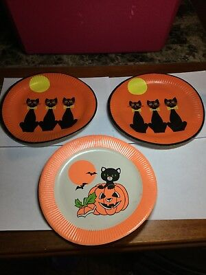 $ CDN7.92 • Buy Vintage Halloween Lot Of 3 Paper Plates Black Cat Pumpkin