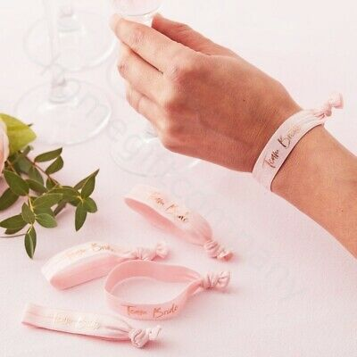 5x Pink Team Bride Wristbands Bracelet Hen Party Wrist Bands Accessories Favours • 4.89£