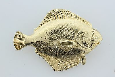 14K Yellow Gold Intricate Flounder Fish Charm Pendant • 609.99$