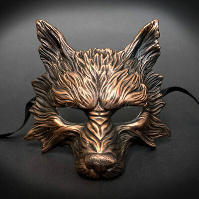 Wolf Animal Masquerade Mask, Men's Masquerade Mask, Halloween Copper Mask • 18.80£