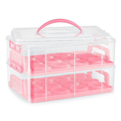 Cupcake Carrier Holder Container Box Plastic Storage Basket Taker Courier, Pink • 28.42£
