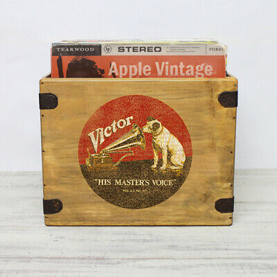 HMV Record Box 12  LP Vintage Wooden Album Crate HMV Records Vinyl Nipper • 28.99£