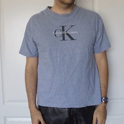 AU65.48 • Buy Vintage Classic 1990s Clothing Calvin Klein CK Spell Out Shirt Large