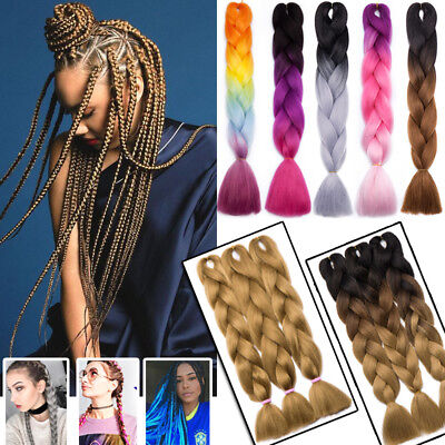 UK 24  Xpression Braiding Hair Kanekalon Ombre Jumbo Hair Weaving Box Braids TF2 • 9.90£