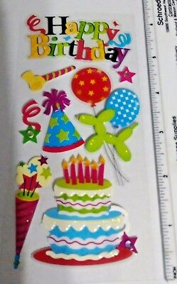 RECOLLECTIONS HAPPY BIRTHDAY Balloons Cake 3D Scrapbook Card Making Stickers O 305