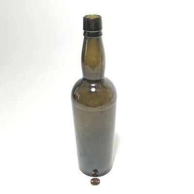 $269.97 • Buy Antique Black Glass Bottle Early 3 Piece Mold Hand Blown Applied Tapered Lip