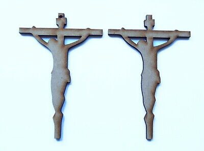 £4.35 • Buy Wooden JESUS ON CROSS Craft Shapes Tags Tree Decor 10 PACK 3mm Thick 3 Sizes