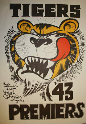 AU495 • Buy 1943 Richmond Jack Dyer Signed Weg Poster  Best Wishes From Jack Dyer COA Tigers