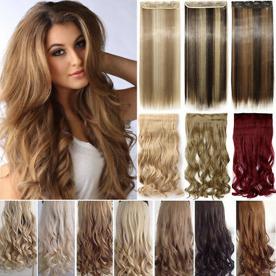 £11.70 • Buy CLEARANCE One Piece THICK 100% Real Clip In As Human Hair Extensions Full Head