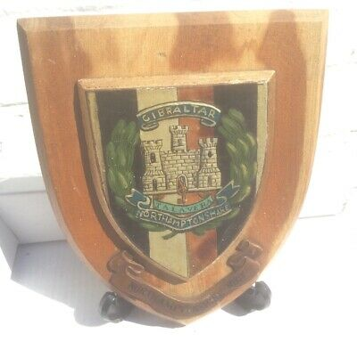 Vintage Hand Painted British Army The Northamptonshire Regiment Plaque Shield • 20£