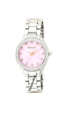 £16.99 • Buy Women'  Diamante Fashion  Watch Mother Of Pearl  Silver Tone  Round Dial With Ro