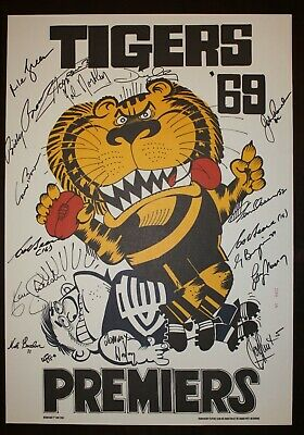 AU595 • Buy 1969 Richmond Signed Weg Poster Limited Edition Premiers 16 Signatures Tigers
