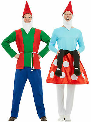 Men Adult Gnome Dwarf Toadstool Costume Fancy Dress Garden Fairytale Stag Party • 25.95£