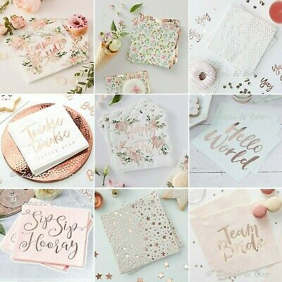 £4.85 • Buy ROSE GOLD Party NAPKINS Tableware Wedding Birthday Tea Hen Party Baby Shower