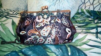 Viyella Satin Sequin Handbag Beaded Brown  • 7.99£