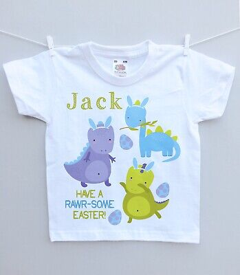 Personalised Baby Or Childs T-shirt Top! 1st Easter Dinosaur Cute Unique Gift • 6.99£