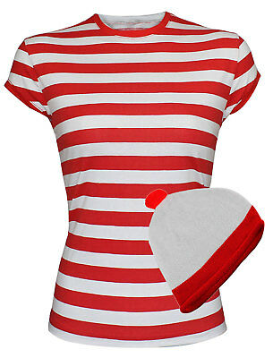 Ladies Women Red And White Stripe Hat Tees T-Shirt Party Fancy Party Dress Top • 3.99£