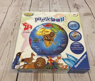 Ravensburger Puzzle Ball 3D Globe With Stand, 72 Pieces Complete - Box Blemished • 14$