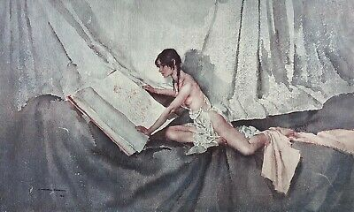William Russell Flint -new Model Inspecting Drawing Of Predecessor- Signed Print • 100£