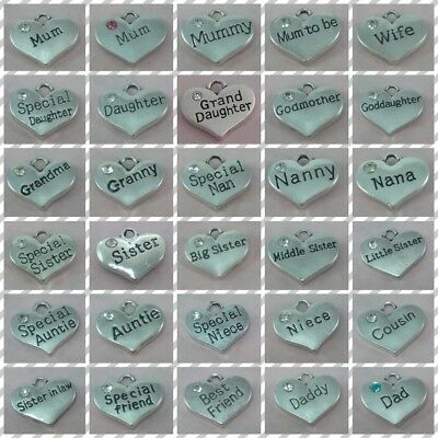 ❤ Family Heart Charms ❤ CLIP ON CHARM ❤  • 1.40£