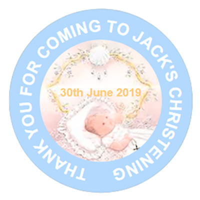 48 Personalised Christening Baptism Stickers Blue Party Bag Cone 40mm Labels • 3.75£