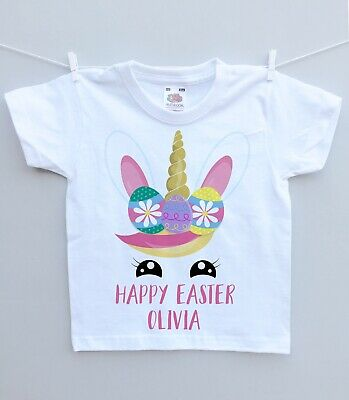 Personalised Baby Or Childs T-shirt Top Unicorn Easter Face Unique Gift Outfit • 7.49£