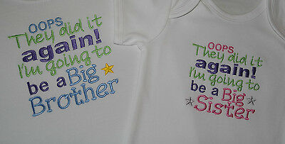 I'm Going To Be A Big Sister Brother Embroidered Sleepsuit And Or Bodysuit/ Vest • 6.99£