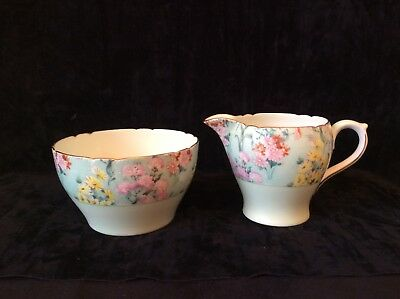 Shelley Art Deco Melody Green Chintz Cream Jug And Sugar Bowl • 39.90£
