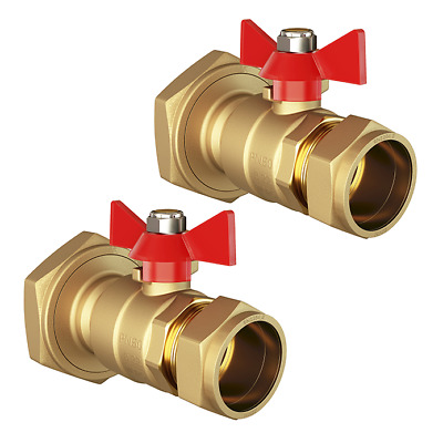 Pair Of Central Heating Pump Valves | 22mm X 1 1/2  | Red Butterfly Ball Type • 14.97£