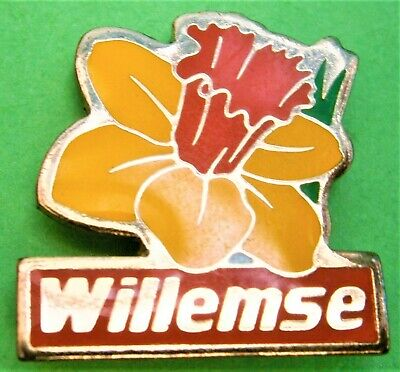 F654*) Enamel Willemse Yellow Welsh Daffodil Flower Tie Lapel Pin Badge • 3.50£